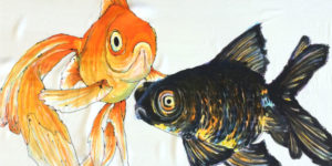 Hand painted silk with gold fish
