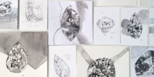 A collection of black and white diamond drawings and collages by Australian artist Lucy Farmer.