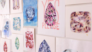 Different coloured diamond drawings by Melbourne artist Lucy Farmer